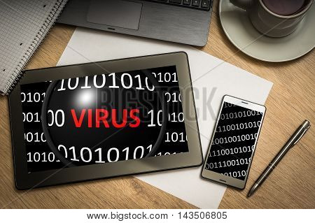 Digital Tablet With Binary Code With Virus On Screen