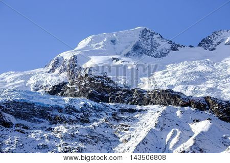 Fee Glacier (Fee Gletscher) are covered with snow creating a beautiful winter landscape in Saas Fee, Switzerl