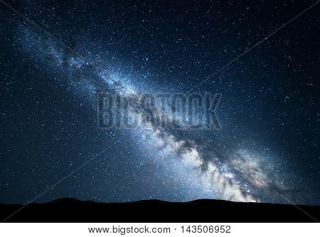 Amazing Milky Way At Mountains. Night Colorful Landscape.
