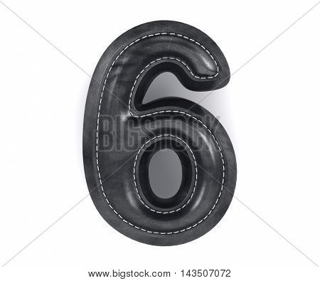 Leather Black Texture Letter Digit Number Six 6