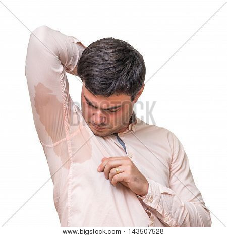 Man With Sweating Under Armpit In Pink Shirt Isolated On White