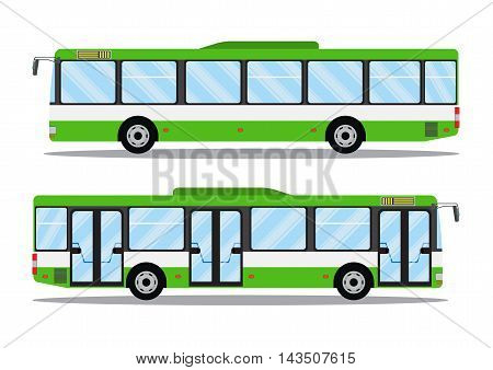 city transit shorter distance bus, side view, isolated. Vector icon illustration in flat design