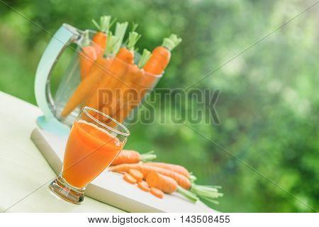 Freshly prepared (squeezed) juice of carrots healthy drink - beverage