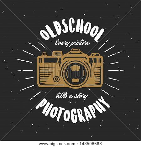 Oldschool photography vintage t-shirt design. Hand drawn photo camera. Every picture tells a story quote. Vector illustration.