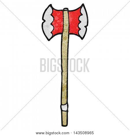freehand textured cartoon axe