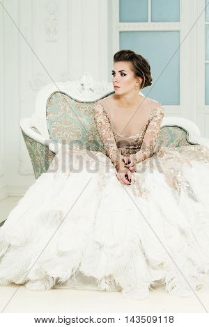 Fashion Portrait of Glamorous Lady in Premium Dress