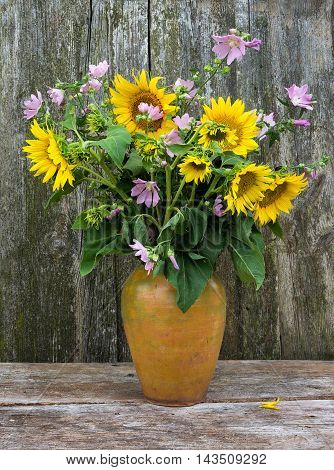 Summer bouquet of Hollyhock Mallow and Sunflowers