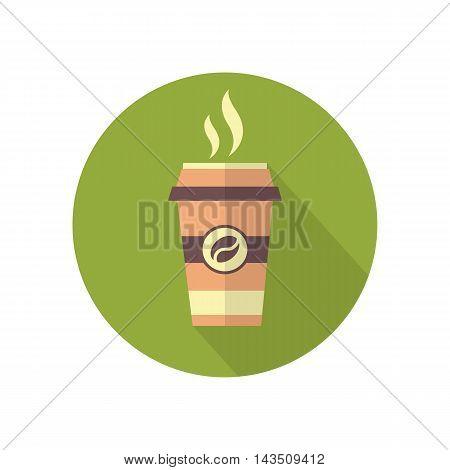 Modern Takeaway Coffee Icon In Flat Desing