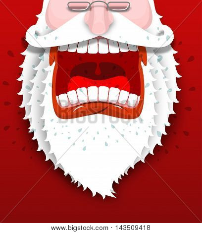 Angry Santa Claus Shouts. Unhappy Santa With Big White Beard. Cursing And Swearing. Flying Drooling.