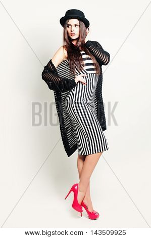 Glamorous Fashion Woman Posing on white background