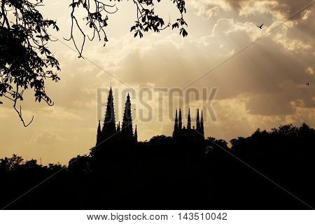 Silhouette of Burgos cathedral at the sunset