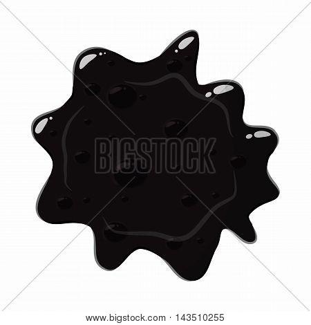 Oil spill splash isolated on white background. Black oil blot vector illustration