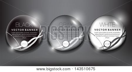 Set of 3 round, black, gray and white pebble stones with realistic light and shadow on the black background. Vector illustration. Eps10.