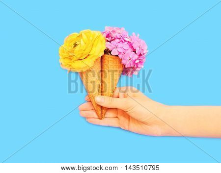 Hand Holding Two Ice Cream Cone With Flowers Over Blue Background