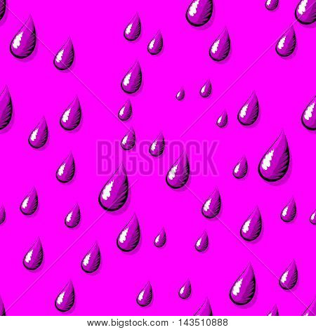 Water drops seamless pattern. Rain drops falling down. Water drops falling in comics design. Water drops seamless background. Vector illustration
