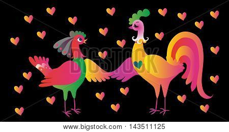 Wedding invitation. Year of the rooster. Vector illustration.