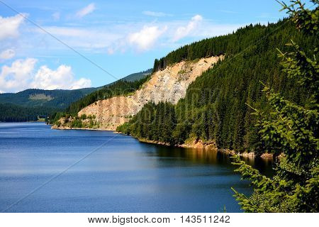 Landscape with lake Oasa, in Southern Carpathians, Romania