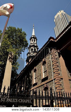 New York City - August 29 2012: Historic 18th century St. Paul's Chapel on Lower Broadway where Gen. George Washington worshipped