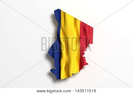Silhouette Of Republic Of Chad With Flag