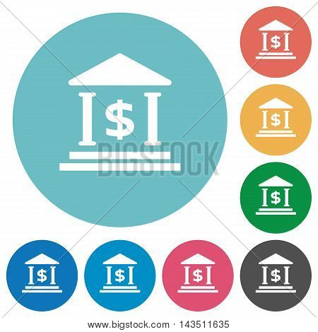 Flat Dollar bank icon set on round color background.