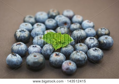 Group of blueberries with a sprig of mint on a dark background.
