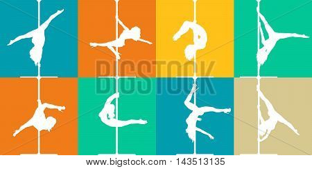 Flat style pole dance and pole fitness icons. Colorful vector silhouettes of female pole dancers.