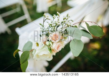 Wedding Chair Cover With Flowers Decoration