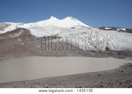 Lake Under Elbrus Mountain