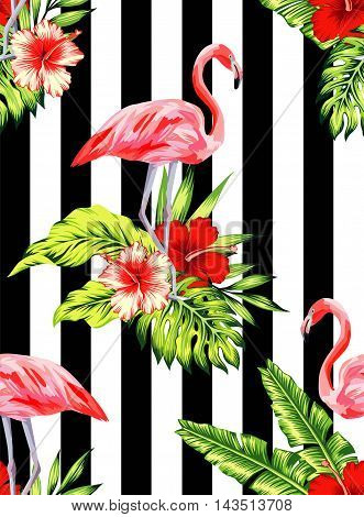 Tropic summer hibiscus seamless vector pattern with palm banana leaf and plants. Composition flower jungle and watercolor pink flamingos black white striped background. Hand drawn exotic wallpaper.