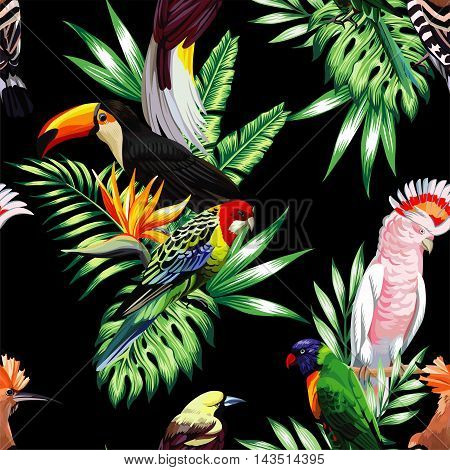 Tropical animals birds parrot macaw and toucan on branch exotic floral banana palm beach tree. Seamless vector wallpaper pattern flower Strelitzia. Decorative abstract design on a black background.