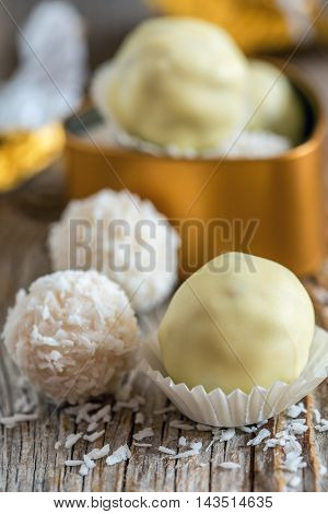 Truffles With White Chocolate And Coconut.