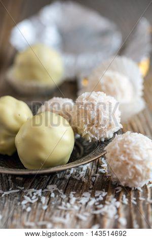 Plate With Truffles Handmade White Chocolate.