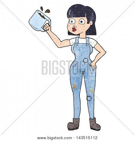 freehand textured cartoon female worker with coffee mug