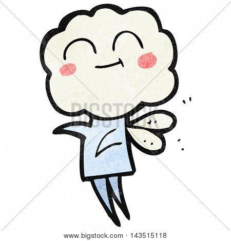 freehand textured cartoon cute cloud head imp