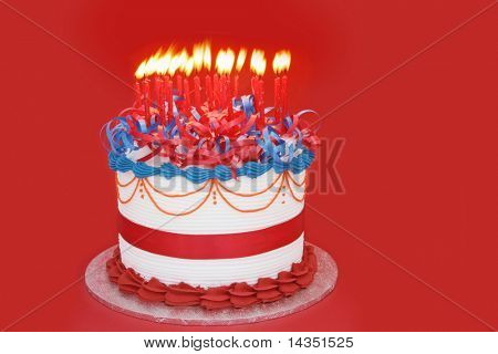 Masses of Candles (25) on a celebration cake.  Suitable for birthday, anniversary, or any other celebration.  Vibrant primary colors.