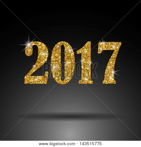 2017. New Year. Gold sequins  luxury The figures date