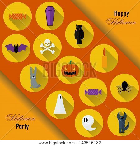 Halloween Background. Vector Illustration. Flat Halloween Icons in Circles on Dark Chalkboard Textured Backdrop. Halloween Concept. Trick or Treat. Orange Pumpkin