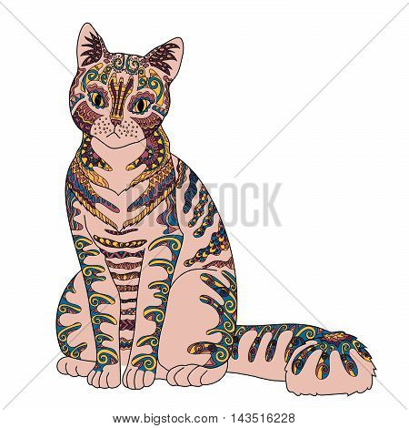 High detail patterned cat in zen tangle style. Template with cute pet for t-shirt, tattoo, poster or logo. Vector illustration.