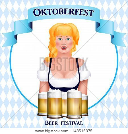 Beautiful Blonde Girl With A Beer. Oktoberfest Poster