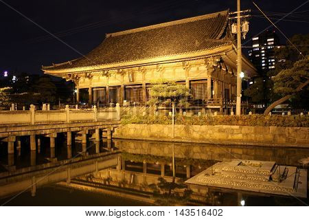 Nightshot of Rokujidou Hall in Shitennoji Temple in Osaka Japan