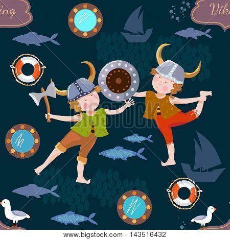 Vikings children seamless pattern Vikings cartoon vector