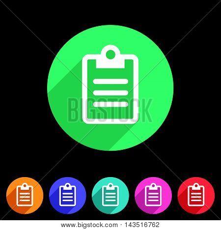 Clipboard checklist rules icon flat web sign symbol logo label set