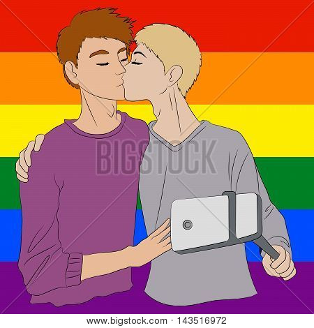 Two cute boys in love embracing and taking selfie. Men hug, kissing and taking photos. LGBT people gays pose in front of the rainbow flag. Vector illustration.