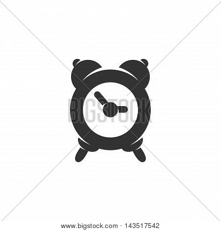Alarm clock logo silhouette design template isolated on a white background. Simple concept icon for web, mobile and infographics. Abstract symbol, sign, pictogram, illustration - stock vector