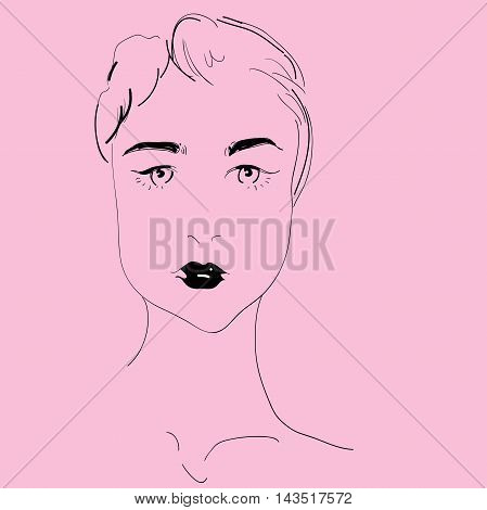 Vector girl abstract. Uncolored contour pattern. Can be used as adult coloring book, card, invitation, t-shirt print. young pretty girl with doodle hairs.