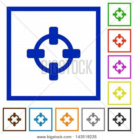 Set of color square framed target flat icons