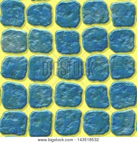 blue stony pavement seamless pattern on yellow background