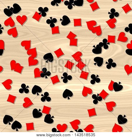 red and black card symbols irregularly scattered on the wooden table - seamless pattern background
