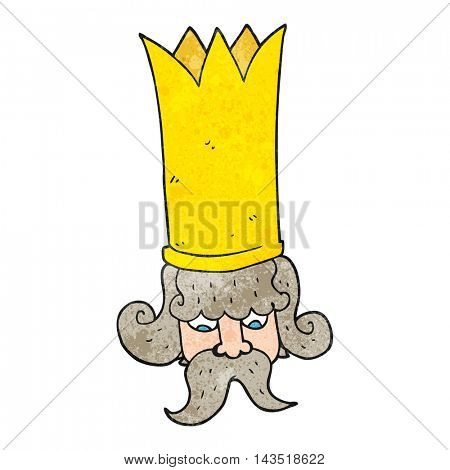freehand textured cartoon king with huge crown
