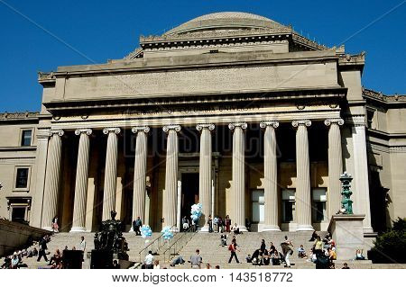 New York City - April 156 2005: Students congregating on the steps leading to the Library at Columbia University